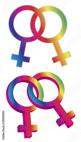 Female Gender Same Sex Symbols Vector Illustration