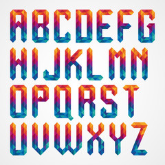 colorful diamond font from triangles