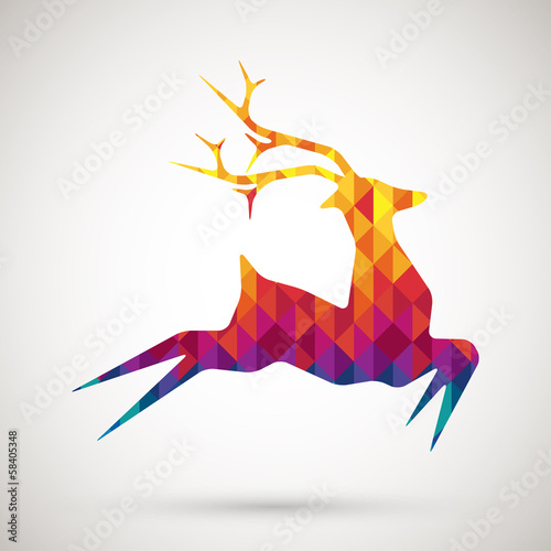 abstract reindeer with colorful diamond
