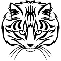 Contour black and white image muzzle tabby cat