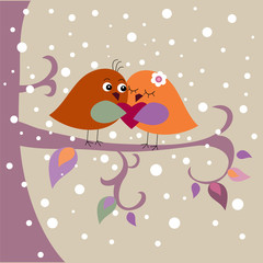 Holiday card with birds