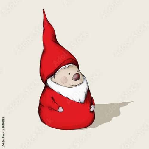 Roter Wichtel mit Bart und Mütze