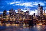 New York City Brooklyn Bridge downtown skyline
