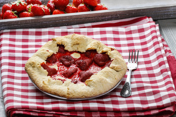Strawberry galette. Summer pie filled with fresh juicy fruits