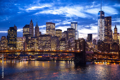 New York City Brooklyn Bridge downtown skyline