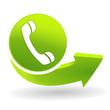 téléphone sur symbole vert