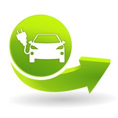 voiture électrique sur symbole vert