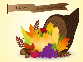 Vector of Cornucopia with Harvest Fruits: Thanksgiving