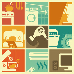 Vintage home appliances icons