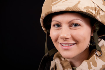 Smiling Army Girl