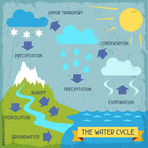 The water cycle. Poster with nature infographics in flat style. © incomible
