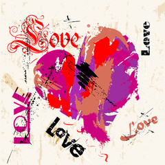 love concept, with a heart and word/letter, strokes and splashes