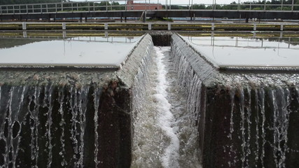 Primary radial settler at wastewater sewage water treatment