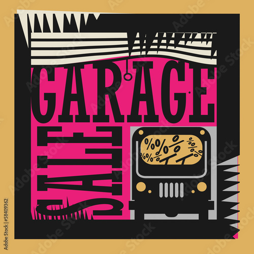 Abstract Garage Sale sign, vector