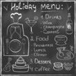 Holiday Food Menu set on blackboard trendy design in vector