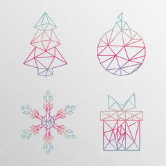 Abstract geometric christmas tree, snowflake, gift box, christma
