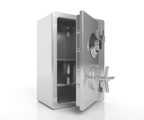 Security steel empty safe isolated on white