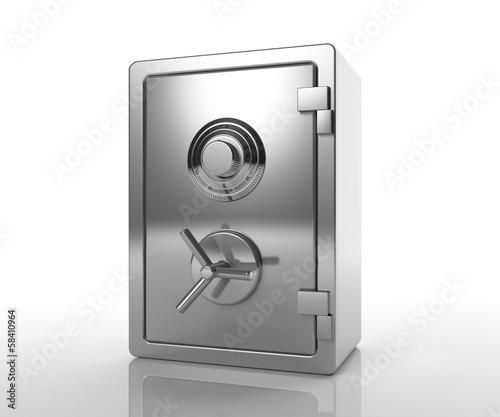 Bank locked safe isolated on white