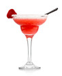 Red alcohol cocktail with strawberry isolated on white