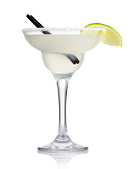 Transparent alcohol cocktail with lime slice isolated