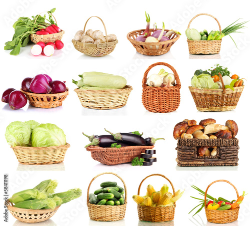 Collage of vegetables in wicker basket