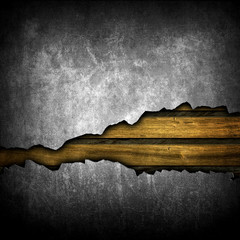 broken wall with wooden planks