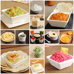 Collage of dips, sauces and pates