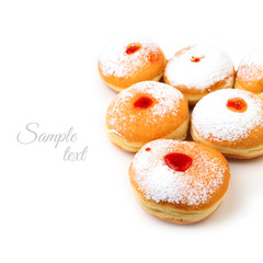 Donut for jewish holiday hanukkah isolated on white