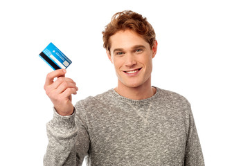 Cool guy showing his credit card