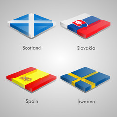 Shiny web glossy bricks buttons with european country flags