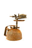 ancient rusted  blowtorch isolated on white poster