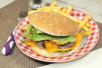 burger, frites