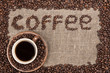 Coffee beans writing on sack cloth