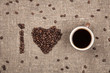 I love coffee made of coffee beans on burlap