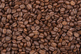 Roasted coffee beans close up
