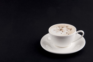Cup of cappuccino in white cup