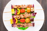 Barbecued pork and vegetable kebabs