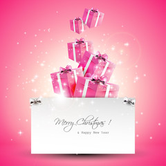 Modern pink Christmas greeting card
