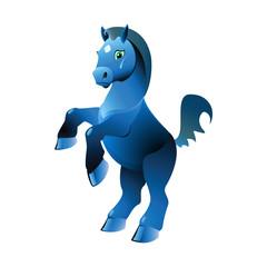 blue pony,Vector illustration
