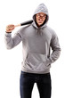 Male with hood over his head holding a baseball bat