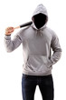 Man in a hoodie holding a baseball bat