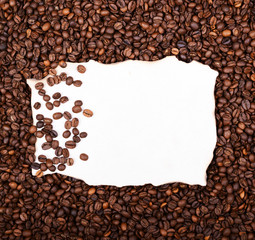 Empty vintage paper on coffee beans background