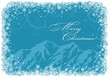 Blue Christmas background with mountains