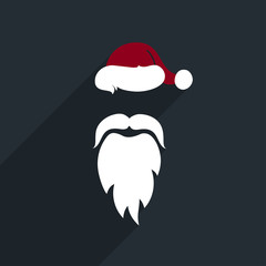 Flat Design Vector Santa Claus Face. Icon. Greeting Card.