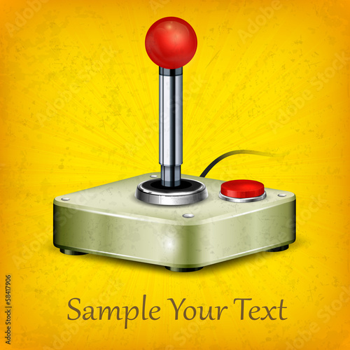 Retro joystick isolated on yellow background, vector