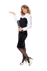 Business woman with a folder holding hand presenting a product.