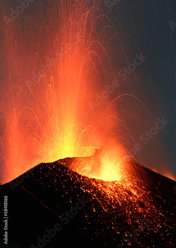 Volcano Stromboli erupting night eruption