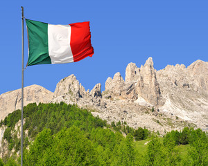 Dolomite peaks, Rosengarten with Italy flag,Italy Alps