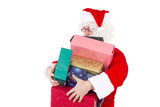 Santa Claus carrying too much colourful gifts