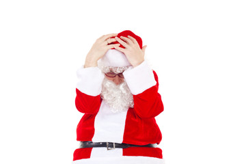 Very frustrated Santa Claus due to lof of work